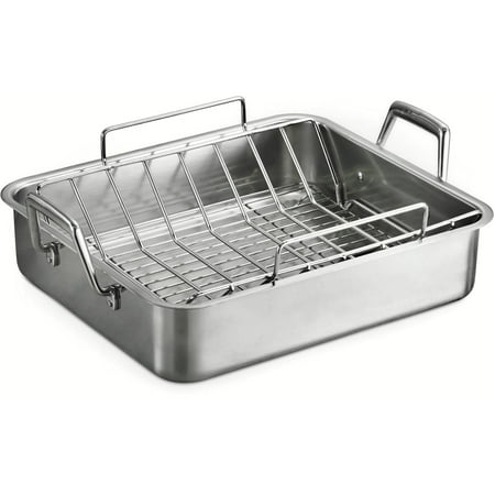 Tramontina 16 5 Deep Roasting Pan With Basting Grill And V Rack