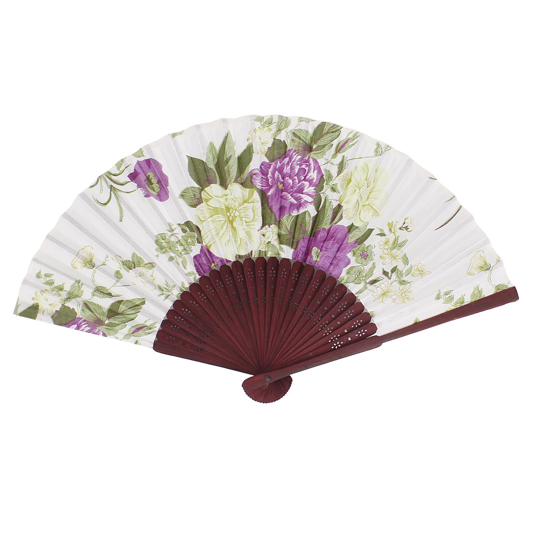 Chinese Style Hollow out Wood Frame Fabric Floral Print Folding Hand Fan Blue