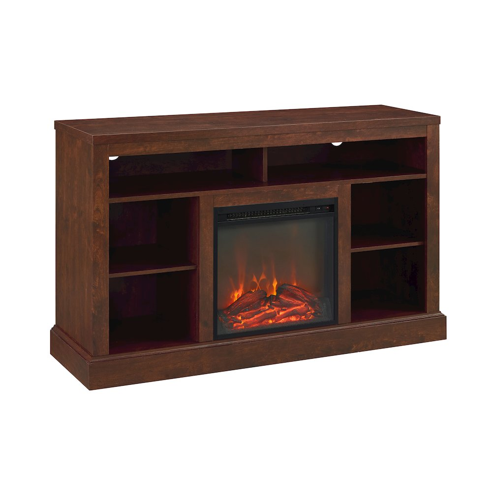 """Walker Edison 52"""" Fireplace Tall TV Console with Open Storage - Traditional Brown"""