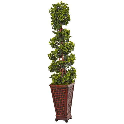 Fleur De Lis Living Artificial English Floor Ivy Topiary in Rectangular Planter