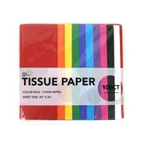 100 CT Primary Colored (Red, Orange, Yellow, Green, Blue, Light blue, Purple, Magenta, Black, White), 17GSM ( thick, durable & crispy) TISSUE PAPER (Primary)