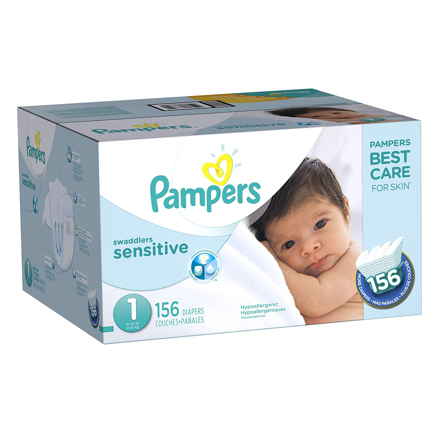 Pampers Swaddlers Sensitive Diapers Size 1 -156 ct. (8-14 lb.) by Unbranded