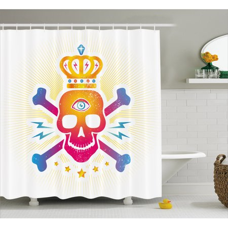 King Shower Curtain, Digital Print Skull with Crown and Bones ... on crown bedroom accessories, crown car accessories, crown curtain holder, crown of light, crown desk accessories, crown sinks, crown home accessories,