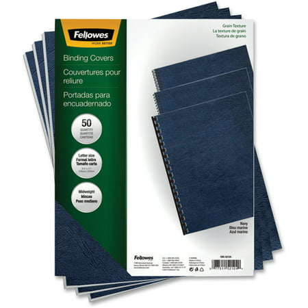 Grain Oversize Binding Covers (Fellowes, FEL52124, Grain Presentation Covers, 50 / Pack, Navy)