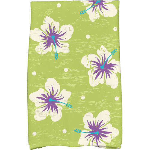 "Simply Daisy 16"" x 25"" Hibiscus Blooms Floral Print Kitchen Towel by E By Design"