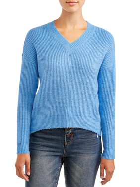 No Boundaries Juniors' Mossy V-Neck Hi-lo Long Sleeve Pull Over Sweater