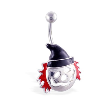 Belly Ring With Scary Clown Face