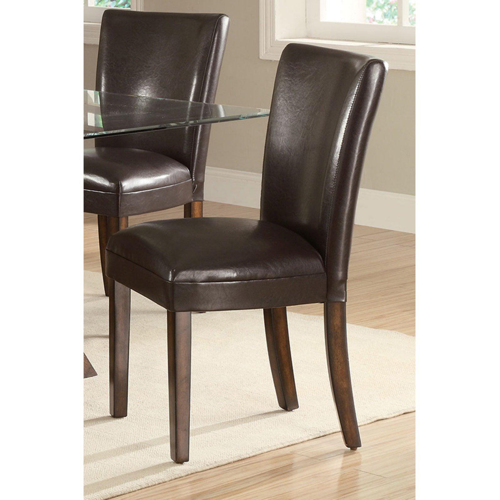 Coaster Furniture Nessa Brown Vinyl Parsons Chair - Set of 2
