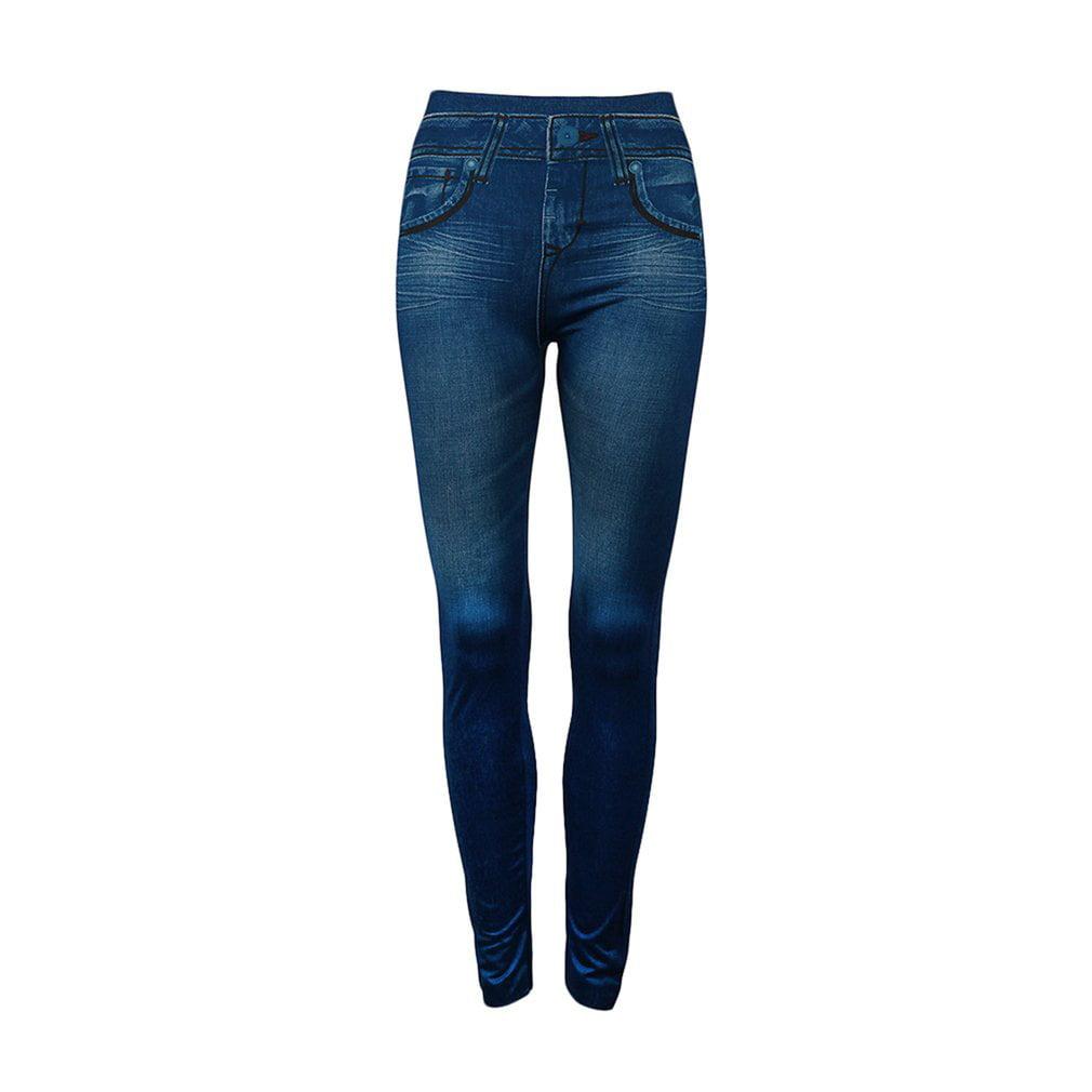 Simulation Pockets Denim Seamless Sexy Women Jeans Skinny Leggings Stretchy Slim Leggings Fashion Skinny Pants