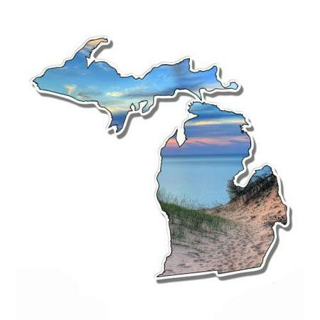 Michigan Dunes Lake Beautiful Sunset - Vinyl Sticker Waterproof Decal Sticker 5