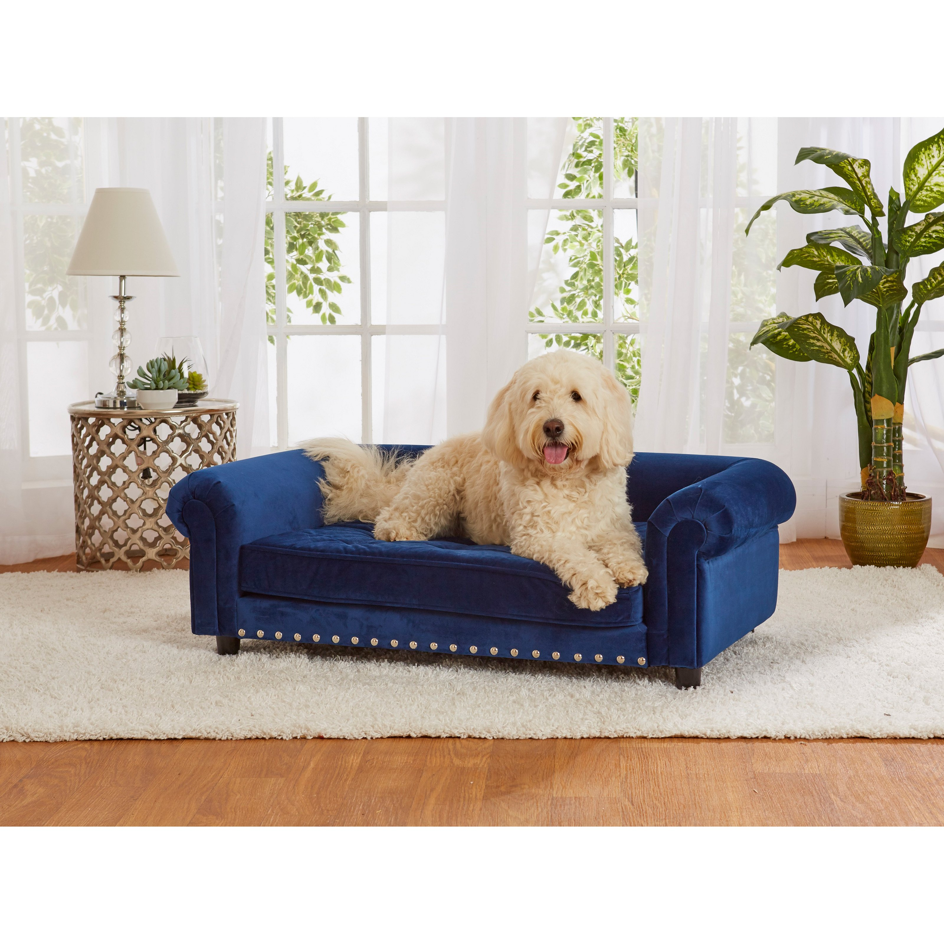 Enchanted Home Pet Manchester Velvet Tufted Dog Sofa With Cushion