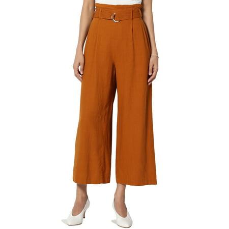 TheMogan Women's Belted High Waist Linen Blend Wide Leg Culottes Cropped Pants