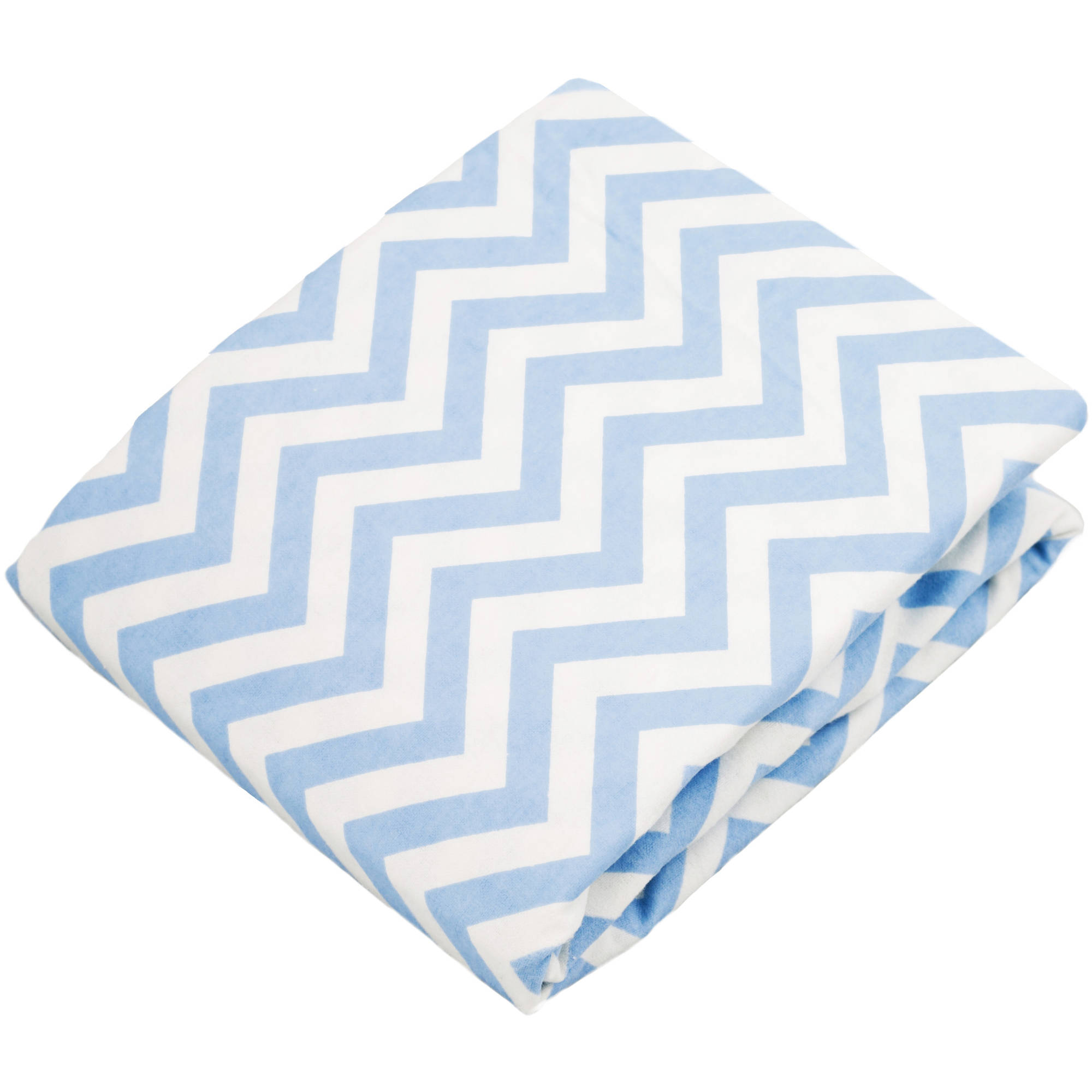 Kushies Bassinet Fitted Flannel Sheet, Chevron Blue
