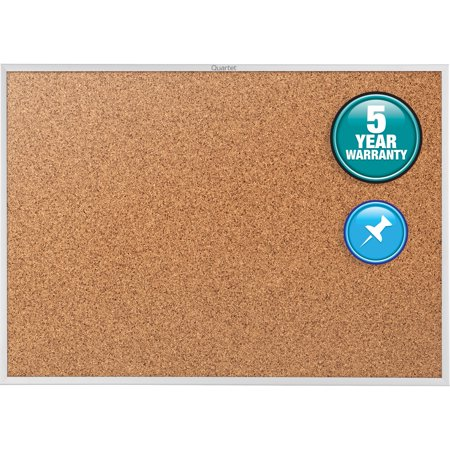 Quartet Classic Cork Bulletin Board, 4' x 3', Silver Aluminum Frame (2304) (Math Bulletin Boards)