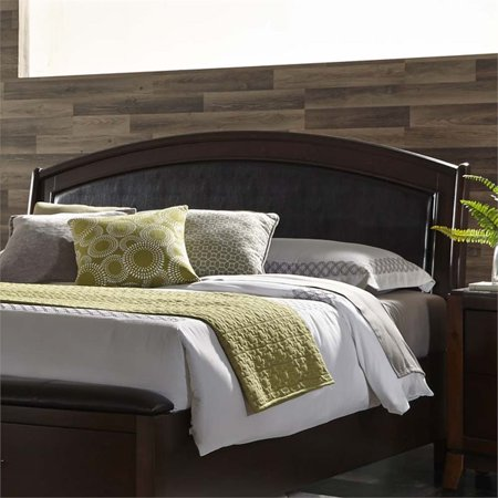 Liberty Furniture Avalon King Faux Leather Panel Headboard in Truffle