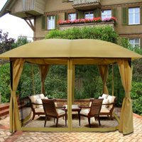 Product Image Quictent 12x12 Metal Gazebo Pergola With Mosquito Netting Curtains Soft Top Canopy Screened Grill For