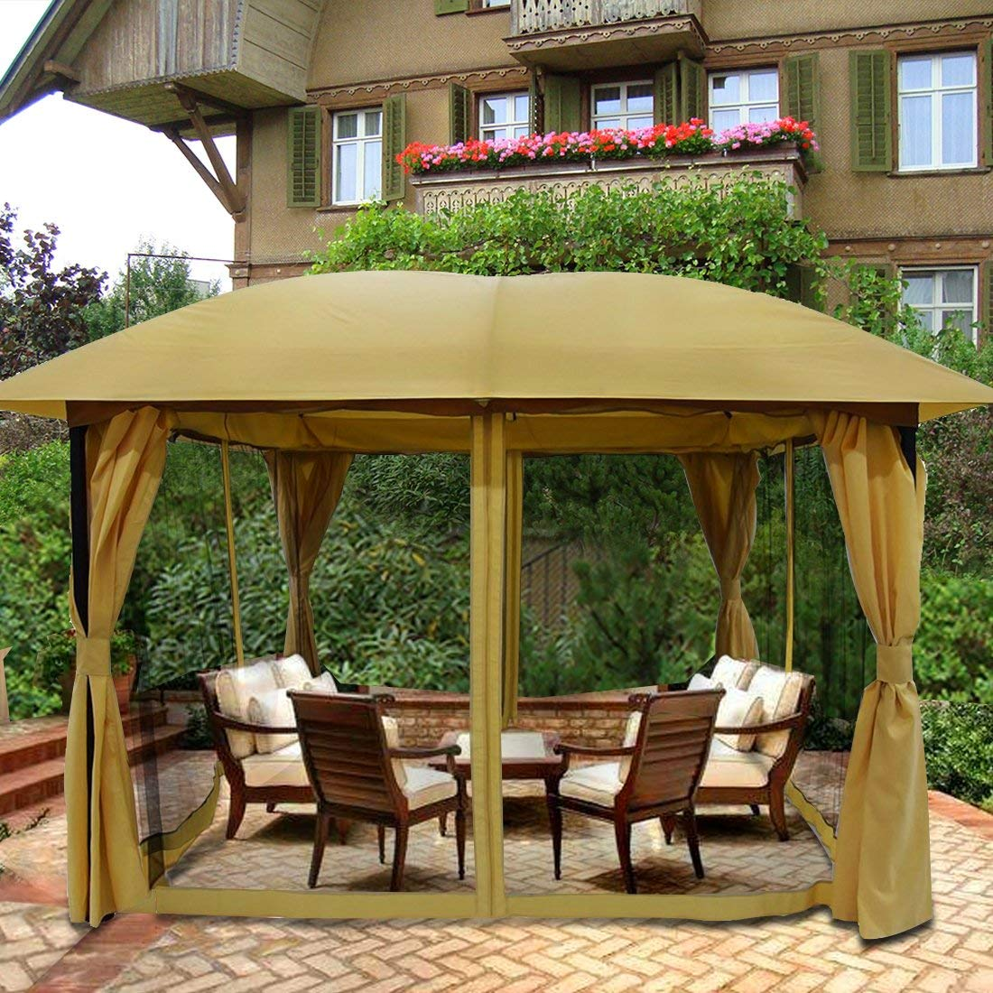 Merveilleux Product Image Quictent 12x12 Metal Gazebo Pergola With Mosquito Netting  Curtains Soft Top Canopy Screened Grill Gazebo For