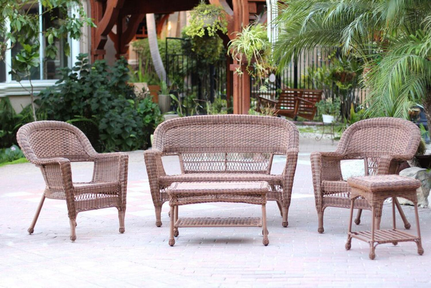 4-Piece Swann Honey Brown Wicker Patio Chairs, Loveseat and Table Furniture Set by CC Outdoor Living