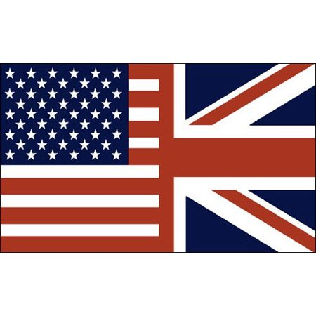 VINTAGE COLORS Half USA / Half UK Flag Sticker (american union jack) ()