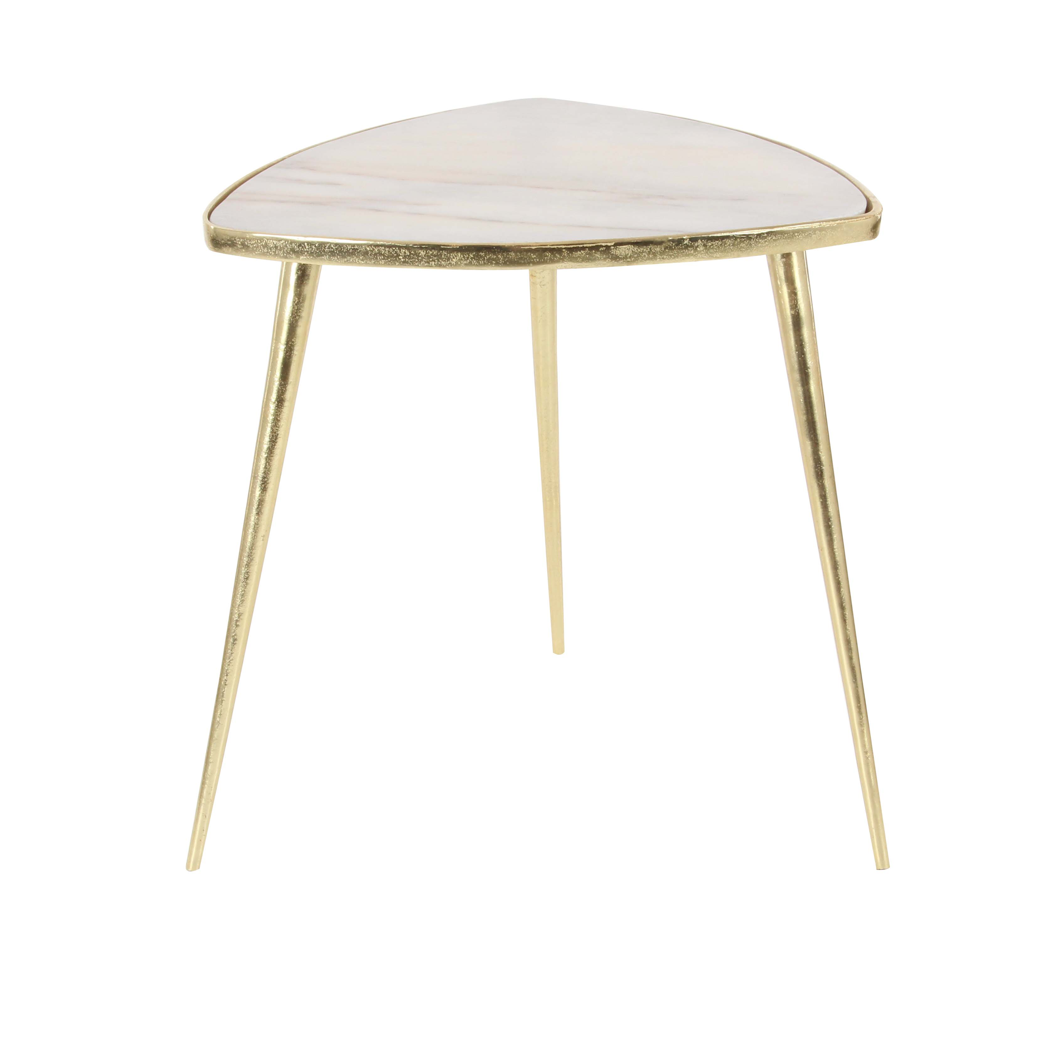 Decmode Modern 21 X 20 Inch Gold Aluminum and White Marble Triangular Accent Table, Gold by DecMode