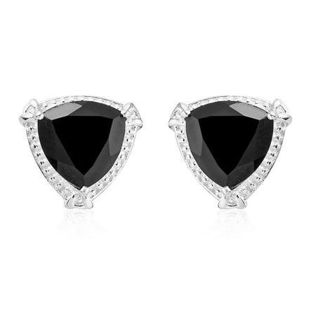 Pearl Smoky Quartz Earrings - 925 Sterling Silver Trillion Smoky Quartz Stud Earrings for Women Jewelry Cttw 3.6 Jewelry Gift