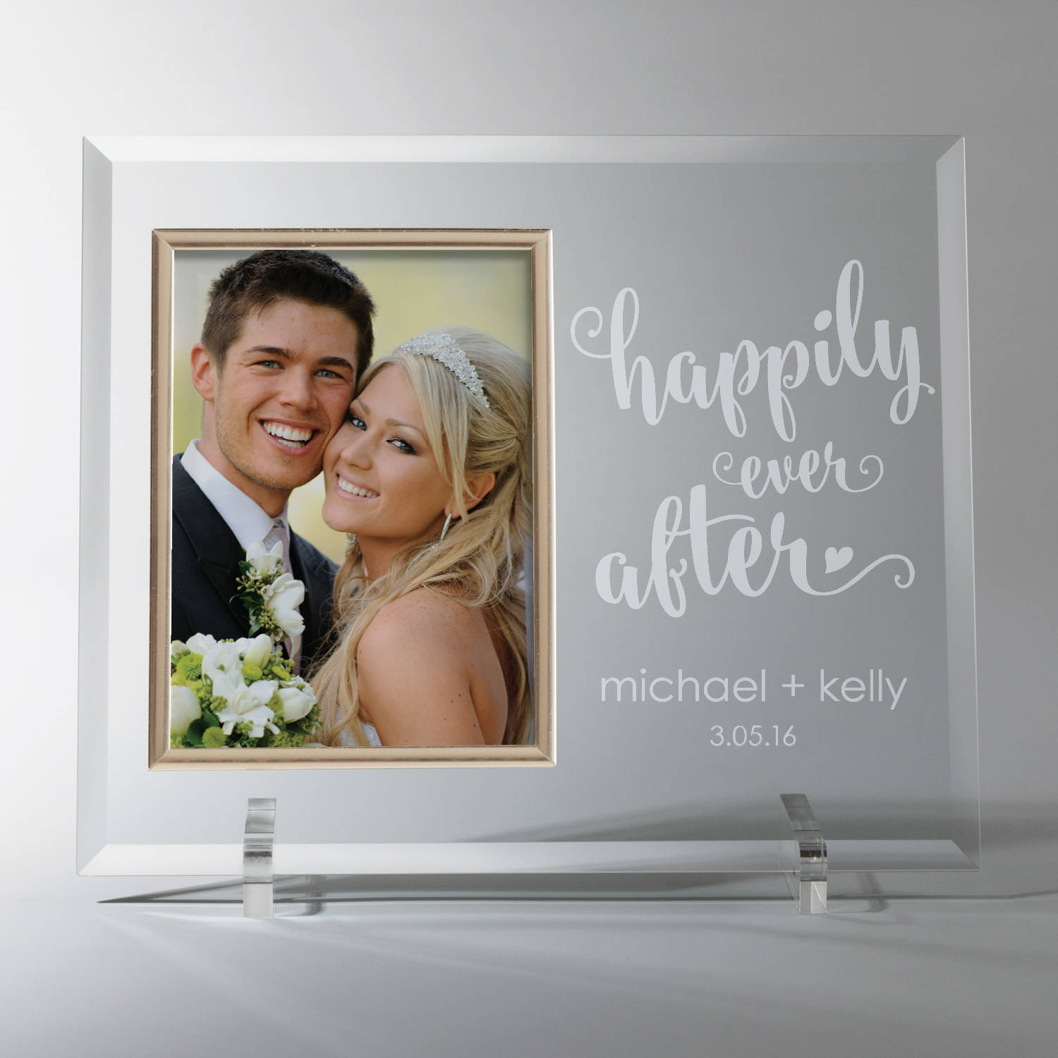 Personalized Happily Ever After Glass Frame