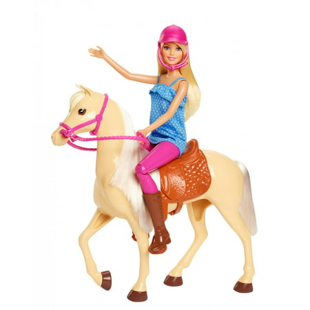 Barbie Doll & Horse Playset, Blonde Hair with Riding Accessories