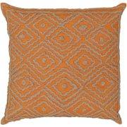 "20"" Summer Orange and Earthtone Beige Decorative Throw Pillow"