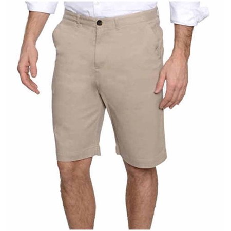 Jachs Mens Stretch Sateen Flat Front Shorts (Khaki, 40)