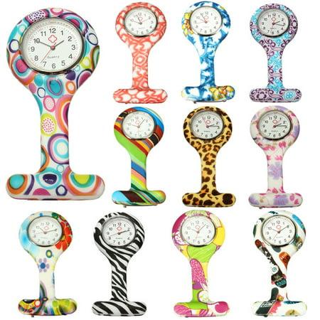 Mrosaa Nurse Silicone Stainless Round Dial Quartz Fob Quartz Pocket Watch (Stainless Pocket Watch)