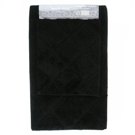 2 Piece Classic Value Luxury Bathroom Rug Bath Mat, 100% Microfiber, Non-Slip Latex Backing - Machine Washable - 21