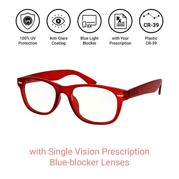 Essilor Single Vision Polycarbonate Blue Blocker Customized Prescription Eyeglass Lenses One Pair For Installation Into Your Own Full Rimmed Frames Anti Scratch And Anti Glare Coating Included Walmart Com Walmart Com