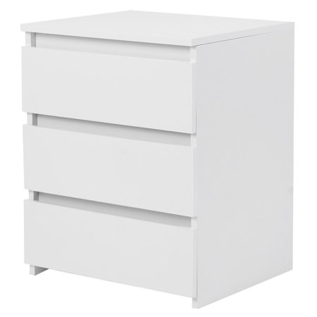 Mavis Laven Bedroom Table,Nightstand,White Modern Bedside Table Cabinet Nightstand with 3 Storage Drawers Bedroom Furniture