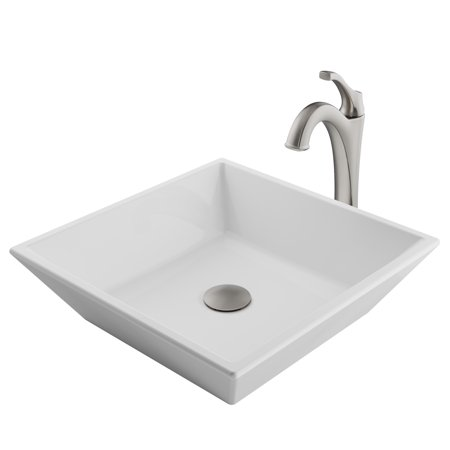 KRAUS Elavo™ 16-inch Square White Porcelain Ceramic Bathroom Vessel Sink and Spot Free Arlo™ Faucet Combo Set with Pop-Up Drain, Stainless Brushed Nickel Finish