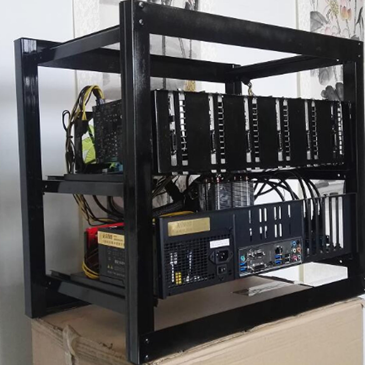 6 GPU 4 Fans Steel Coin Open Air Mining Frame Rig Case BTC ETH Ethereum Miner BR
