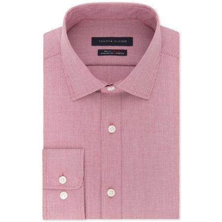 Tommy Hilfiger Mens Fitted Flex Button Up Dress Shirt