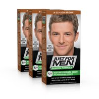 ($30 Value) Just for Men Original Formula, Easy and Fast Shampoo-In Men's Hair Color, Real Black, Shade H-55 (Pack of 3)