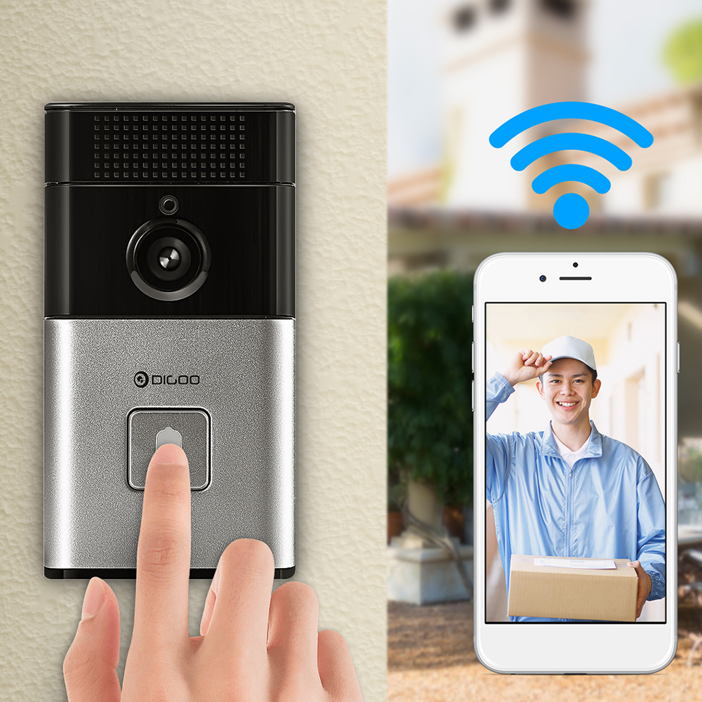 DIGOO Wireless Video Doorbell with Night Vision Camera Smart Two-way Talk 720P HD Security Camera&Free APP Control &Intercom Alarm Clear