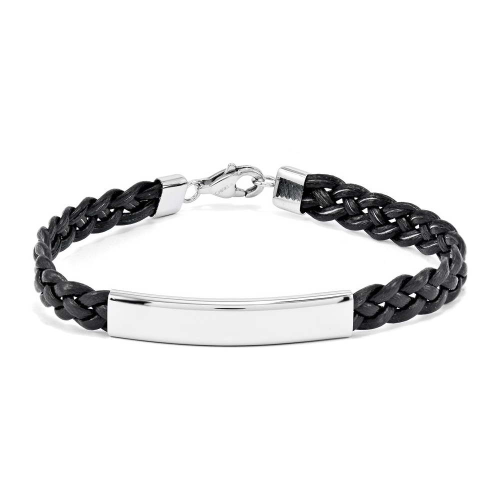 Stainless Steel Polished Leather ID Bracelet Length 8
