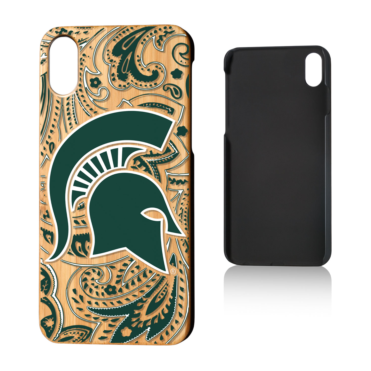 MSU Michigan State Spartans Paisley Bamboo Case for iPhone X