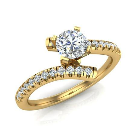 14k Yellow Gold Diamond Promise Ring Bypass Setting 0.50 ctw (J,I1) Popular Quality ()