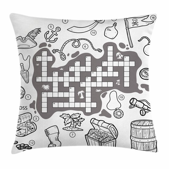 Word Search Puzzle Throw Pillow Cushion Cover, Colorless Pirates Themed Educational Puzzle ...