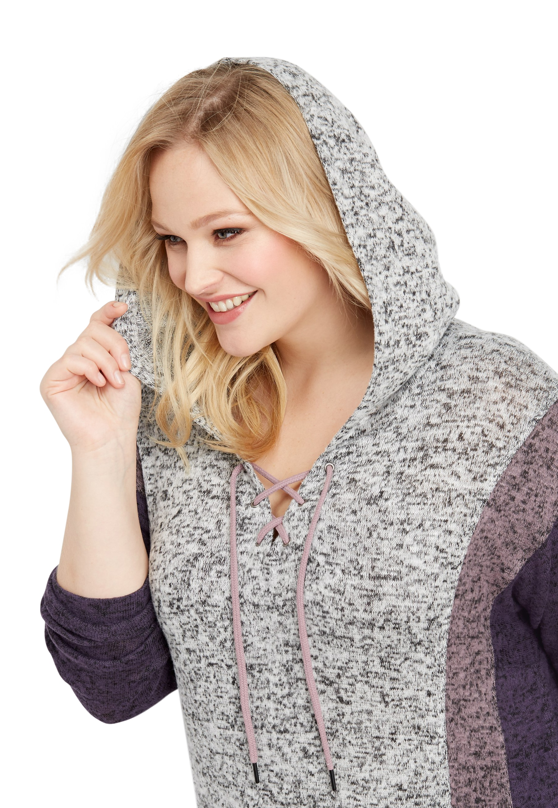 Plus Size Brushed Colorblock Lace Up Hoodie