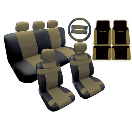 18 Piece Two Tone Premium Sport Synthetic Leather Seat Cover Set Bucket Seats Headrests Steering Wheel Set with Matching Floor Mats (Lively Tan)