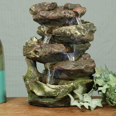 - Sunnydaze 5-Step Rock Falls Tabletop Fountain with LED Lights, 14 Inch