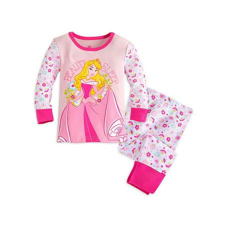 "Disney Store Baby Girls Aurora - Slepping Beauty - ""Beauty Sleep"" Pajama Set, Pink, 12-18 Months"