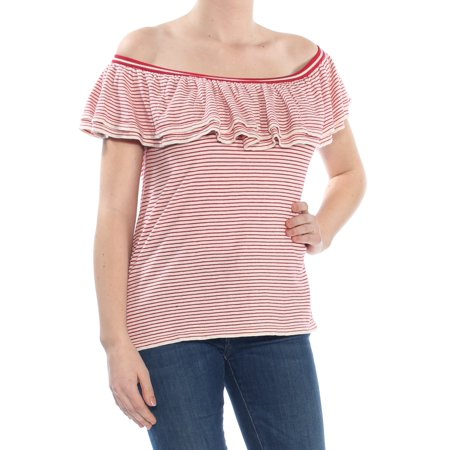 RALPH LAUREN Womens Red Striped Ruffled Short Sleeve Off Shoulder Sweater Petites  Size: M