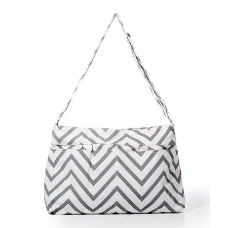 White Elm Gray Chevron Tote Bag