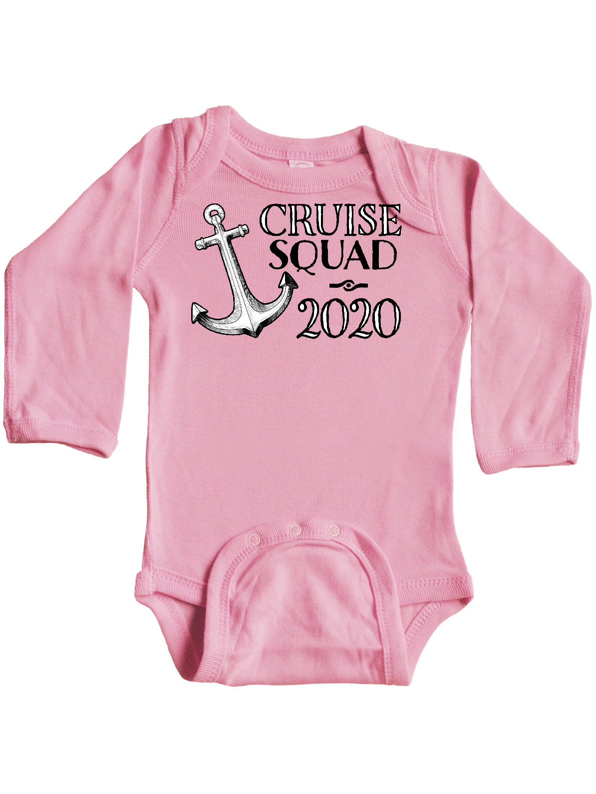 inktastic Cruise Squad 2020 Pink Ship Anchor Long Sleeve Creeper