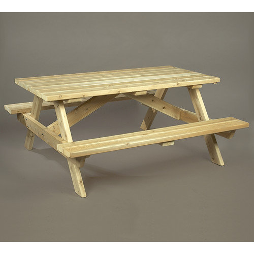 Rustic Natural Cedar Furniture Square Cedar Wood Picnic Table